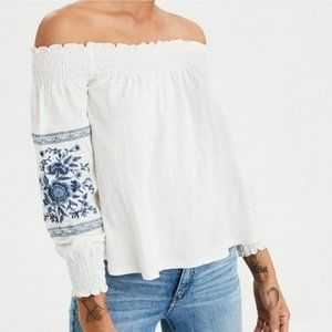 AMERICAN EAGLE XSmall Off Shoulder Boho Chic Top